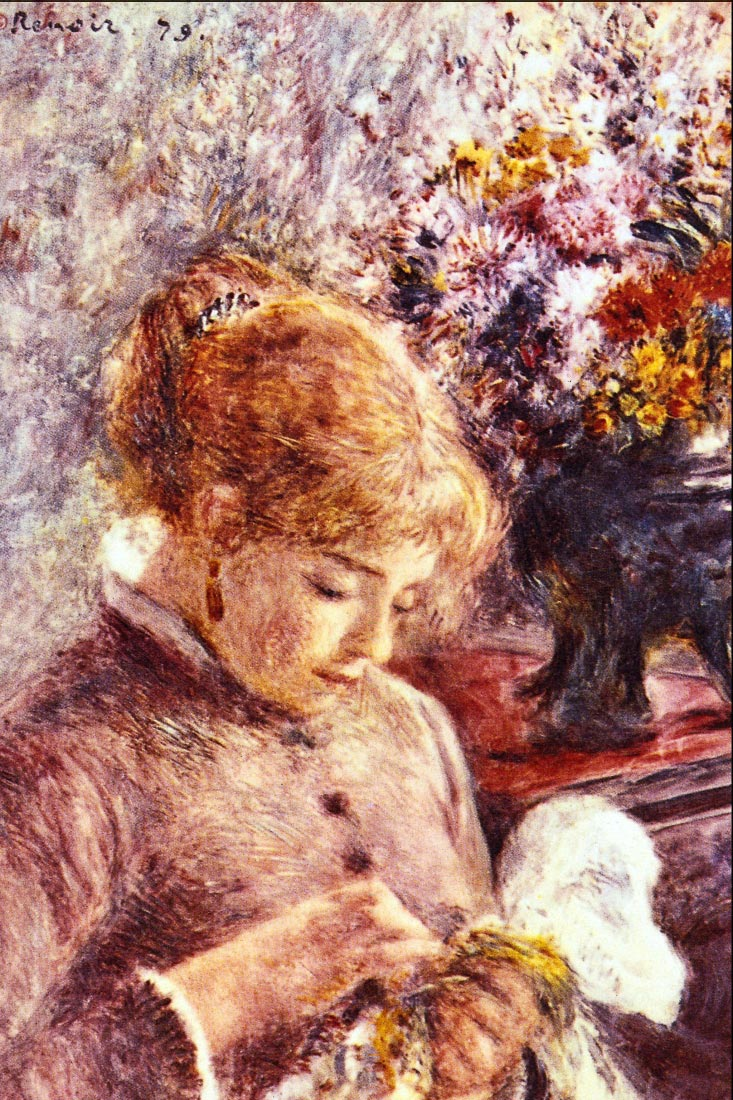 Woman Embroidering - Renoir
