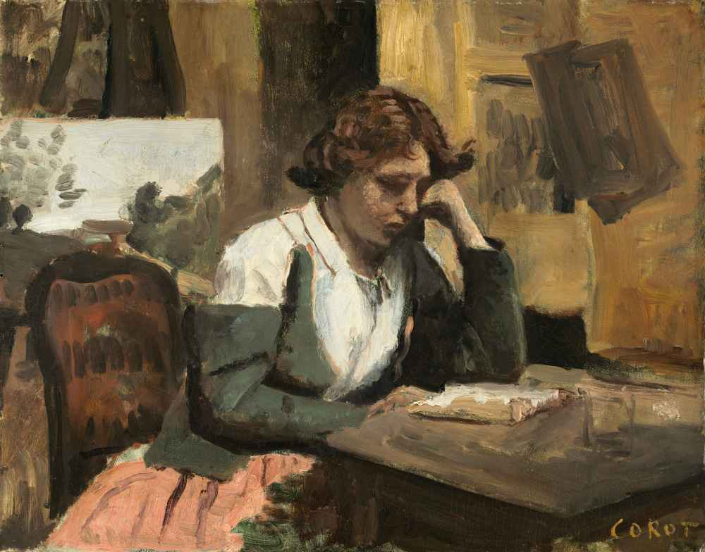Woman Reading in the Studio - Jean Baptiste Camille Corot