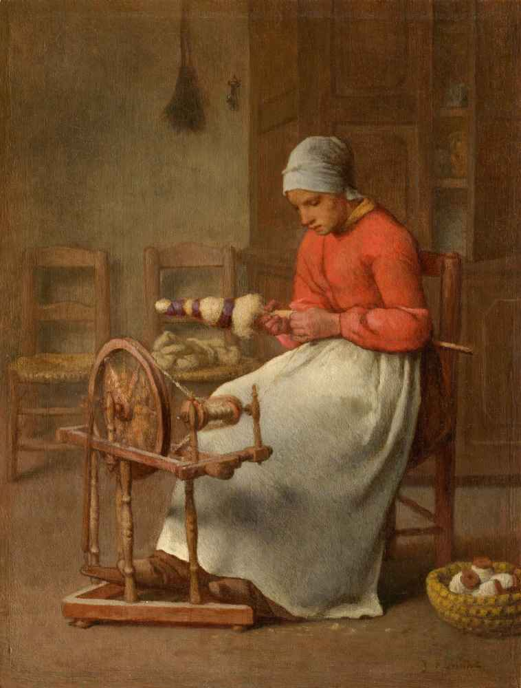 Woman Spinning - Jean Francois Millet