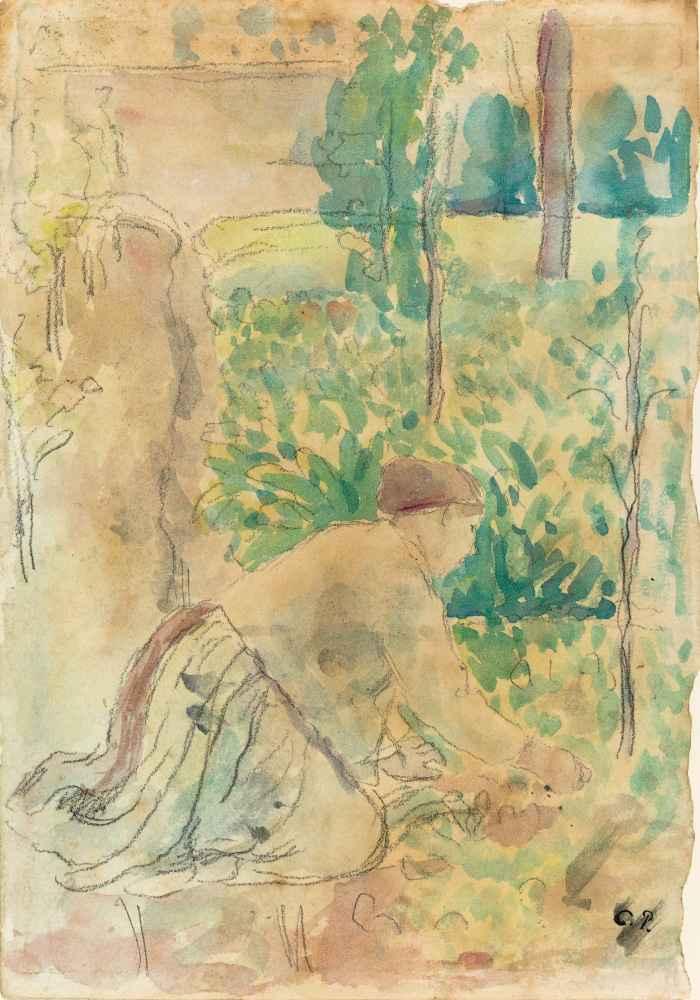 Woman Working in a Garden - Camille Pissarro