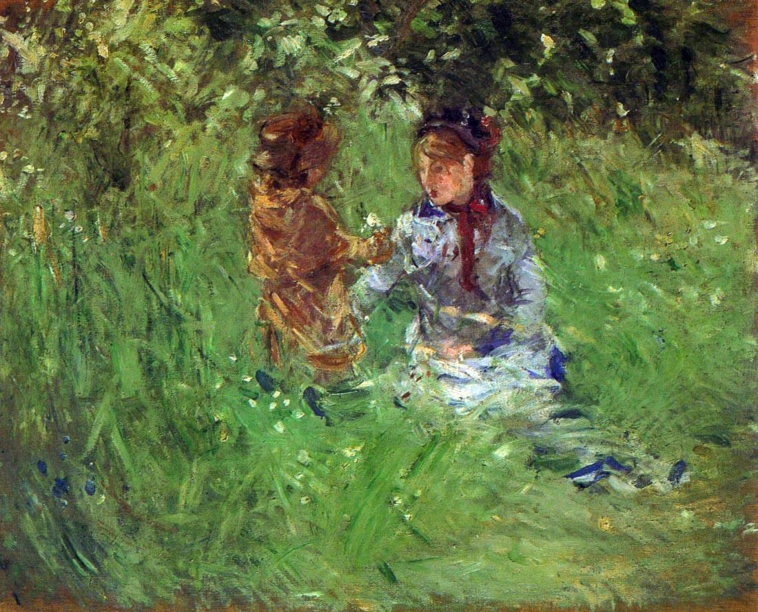 Woman and child in garden in Bougival - Morisot