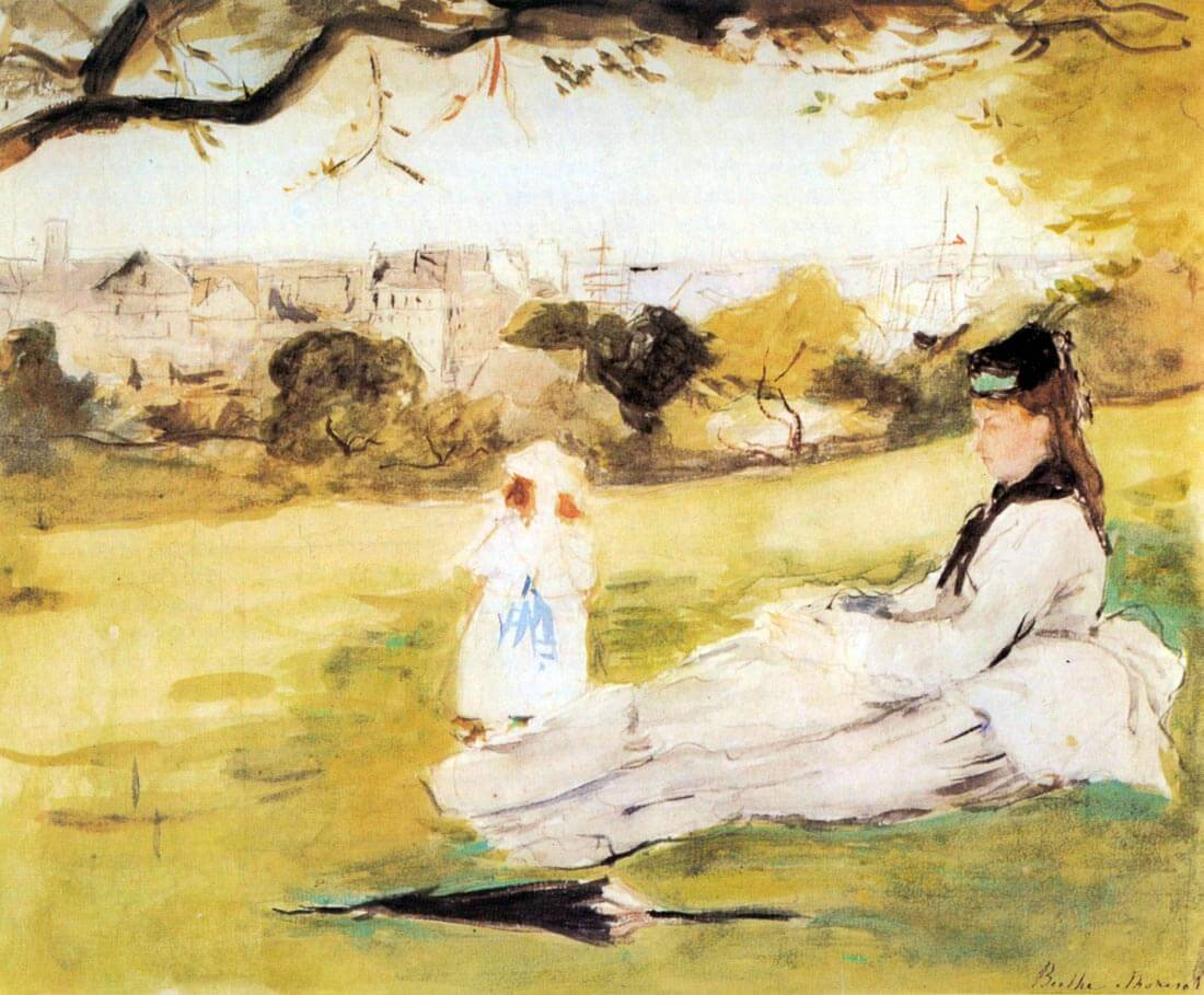 Woman and child sitting in a field - Morisot