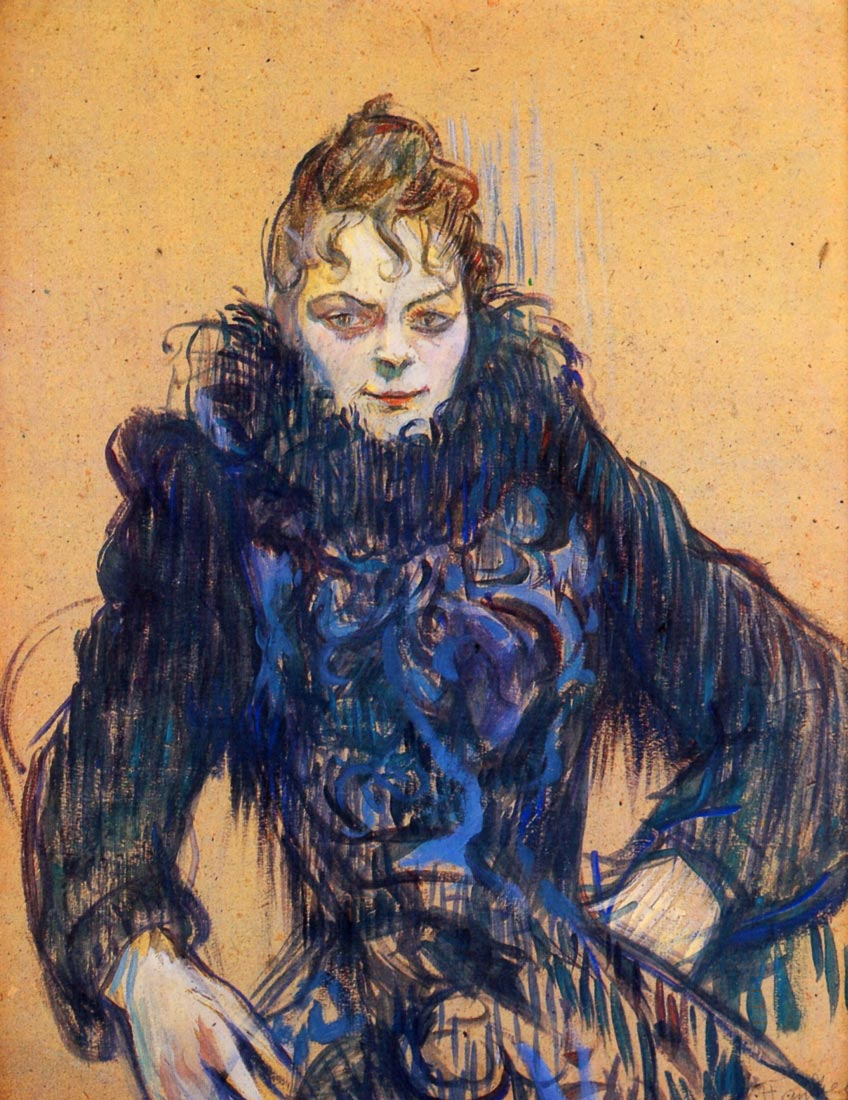 Woman in a black boa - Toulouse-Lautrec