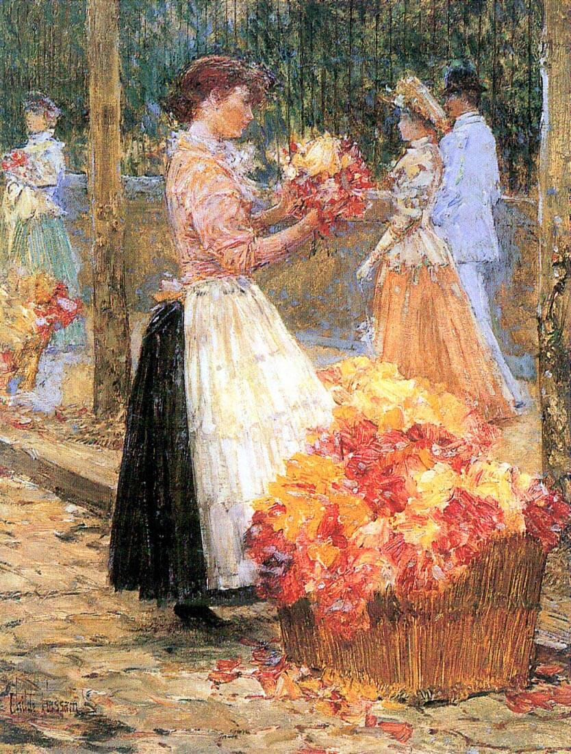 Woman sells flowers - Hassam