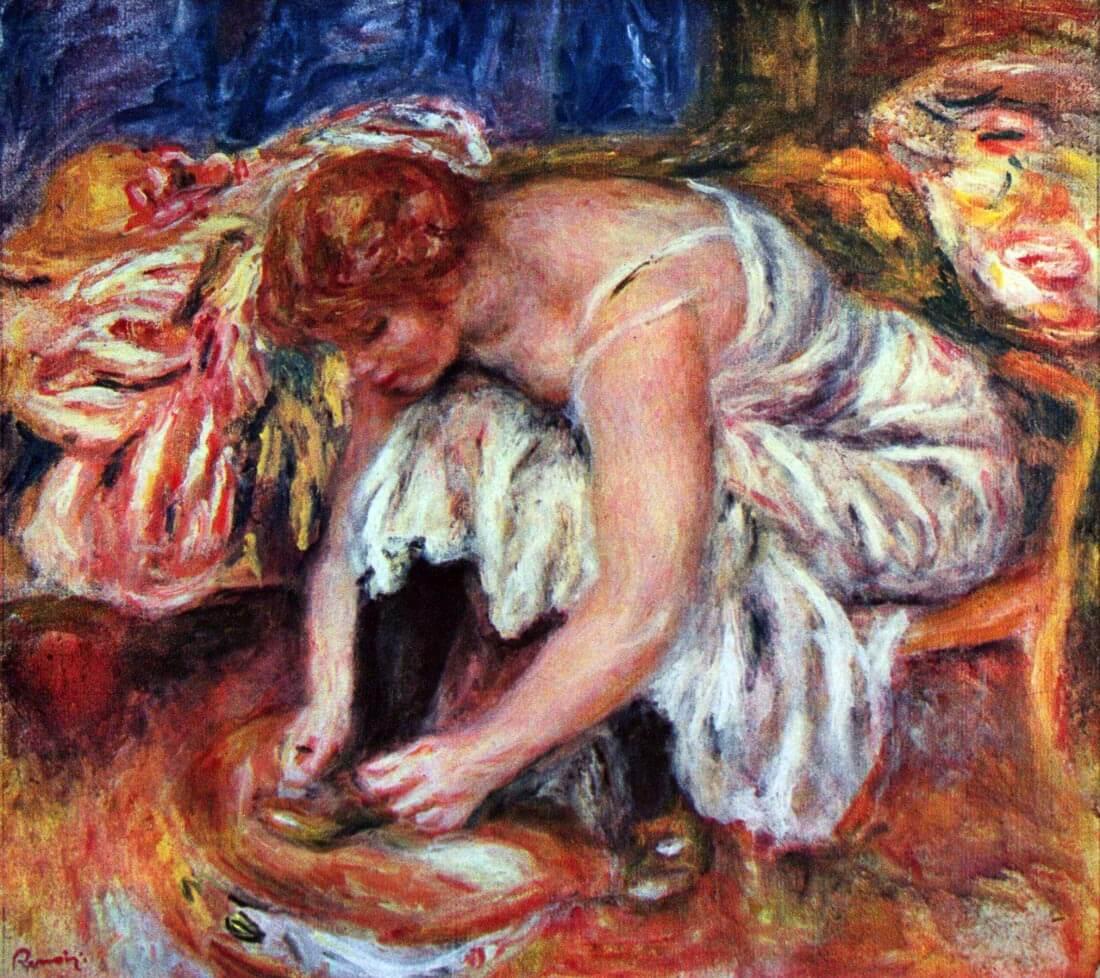 Woman tying her schoes - Renoir