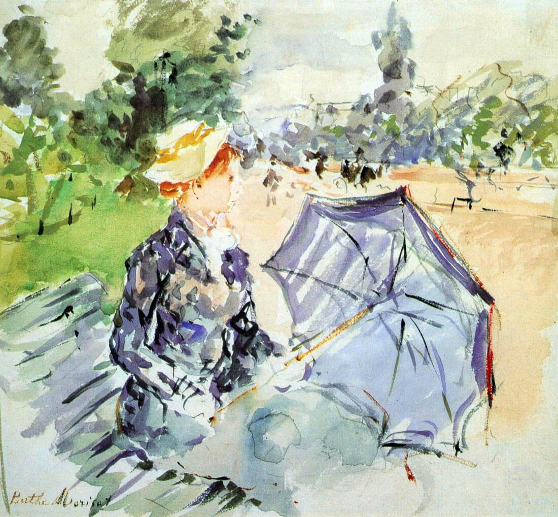 Woman with Parasol sitting in the park - Morisot