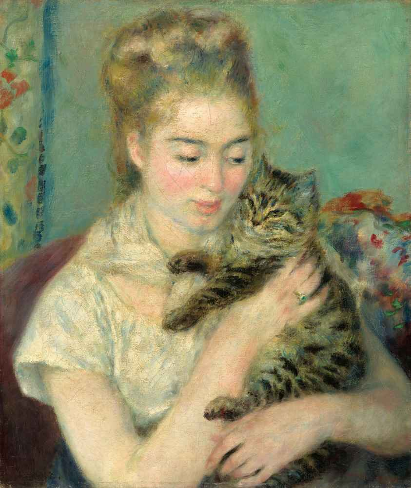 Woman with a Cat - Auguste Renoir
