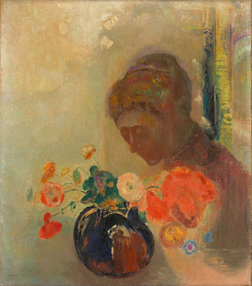 Woman with a Vase of Flowers - Odilon Redon