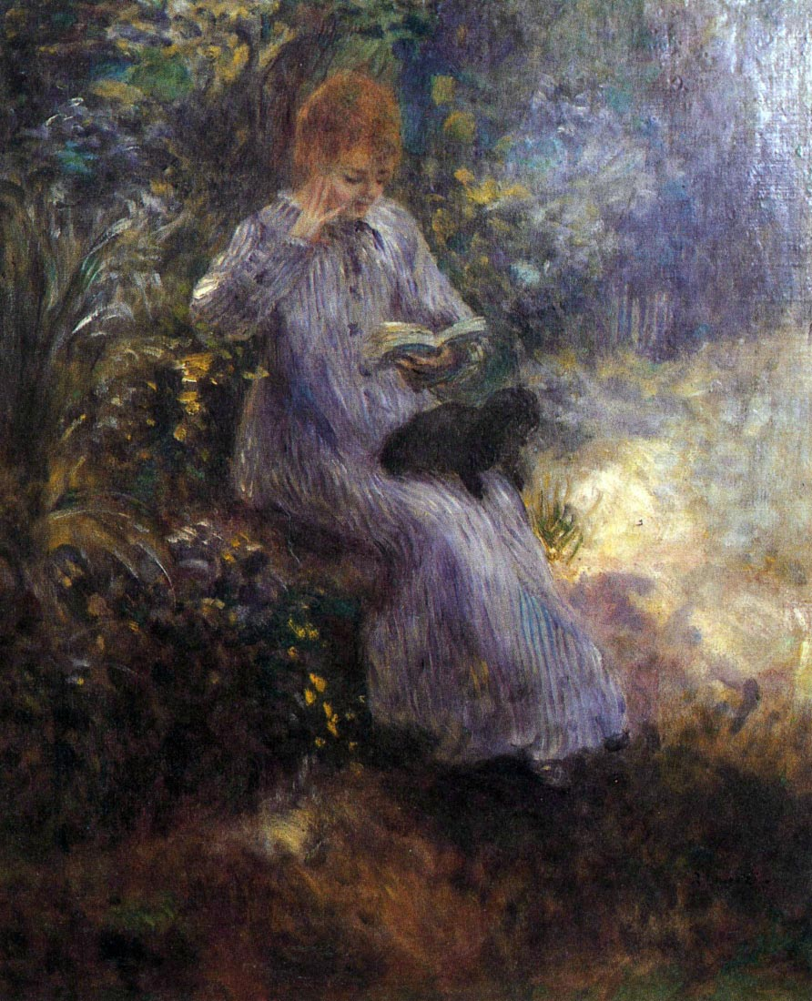 Woman with a black dog - Renoir