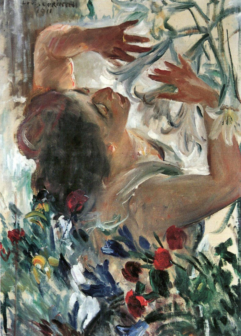 Woman with lilies in the greenhouse - Lovis Corinth