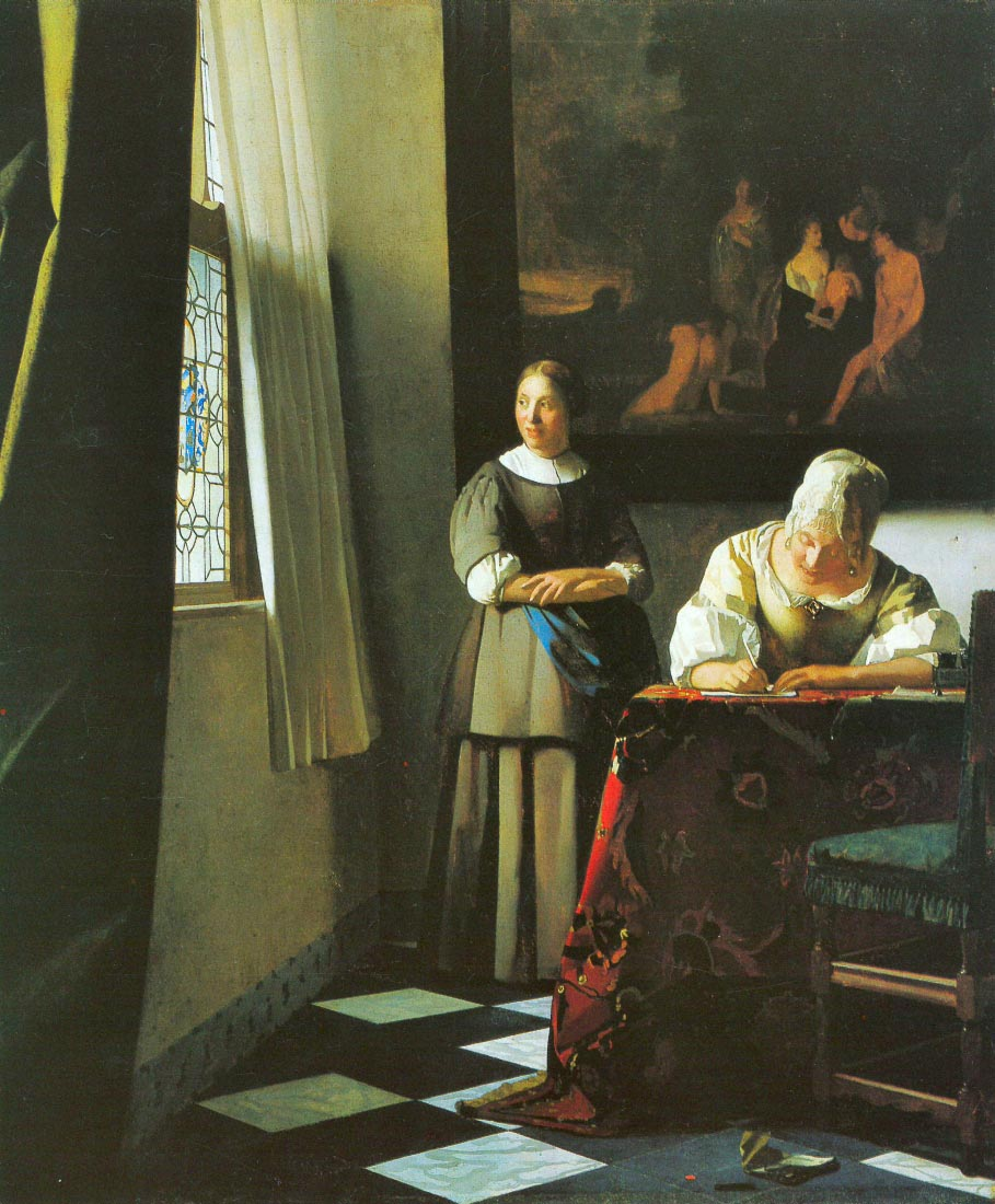 Woman with messenger - Vermeer