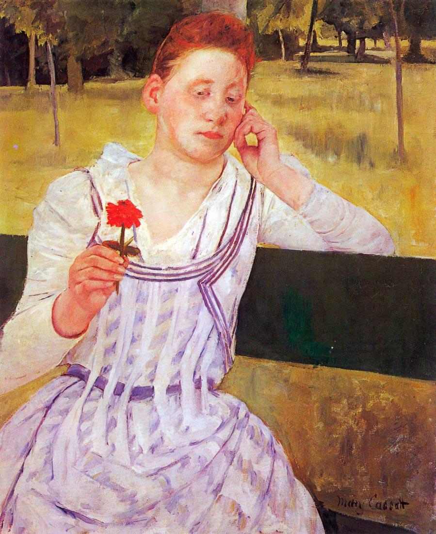 Woman with red Zinnia - Cassatt