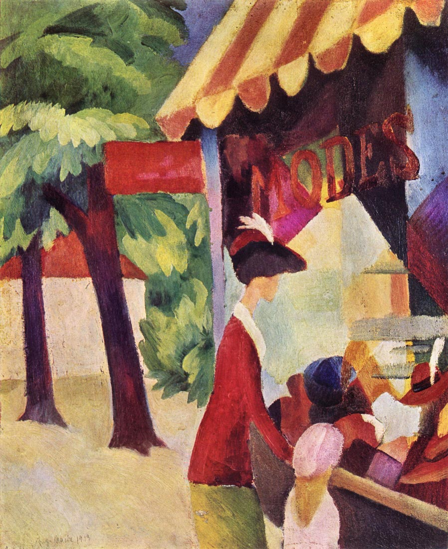 Woman with red jacket and child - August Macke