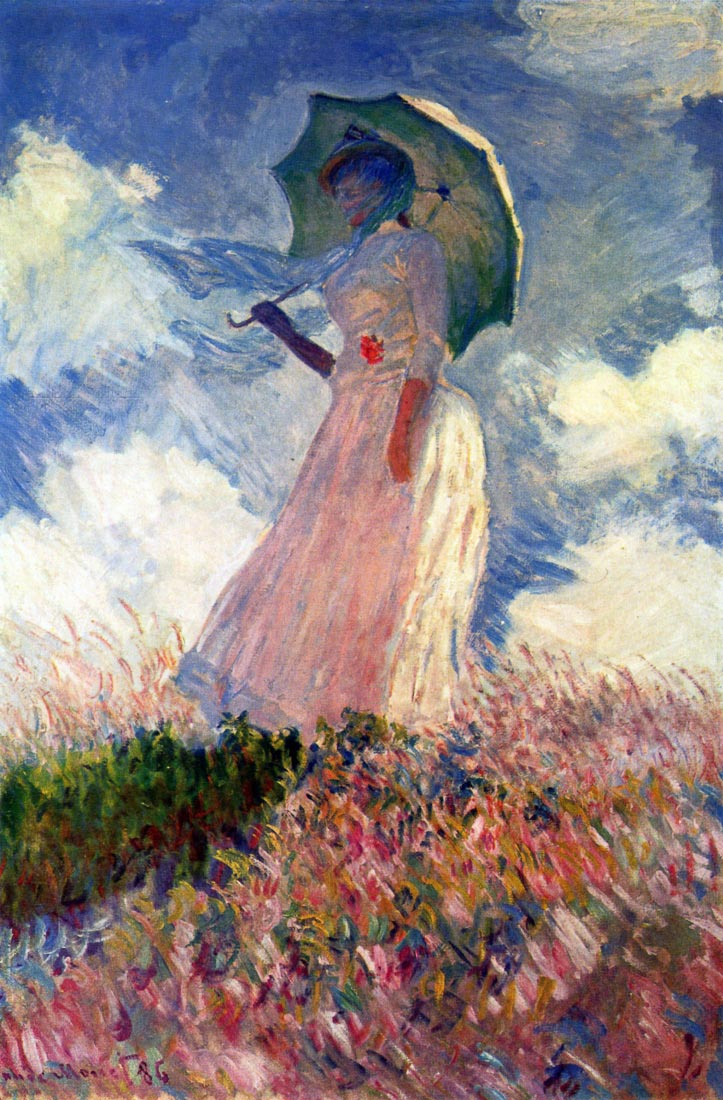 Woman with sunshade, study - Monet