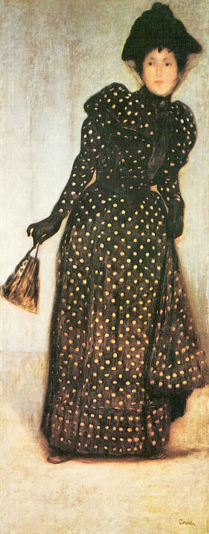 Woman with white-dotted dress - Giovanni Segantini