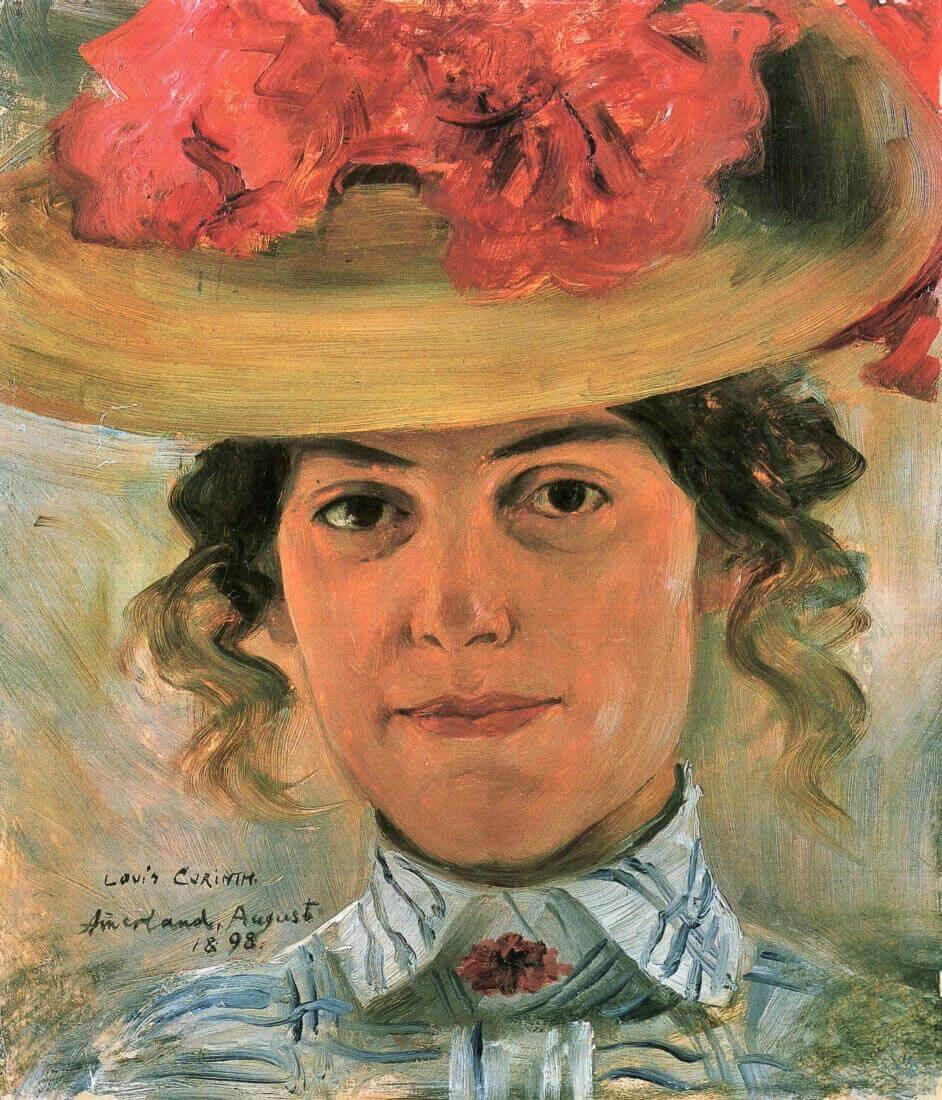 Womens Half-portrait with straw hat - Lovis Corinth