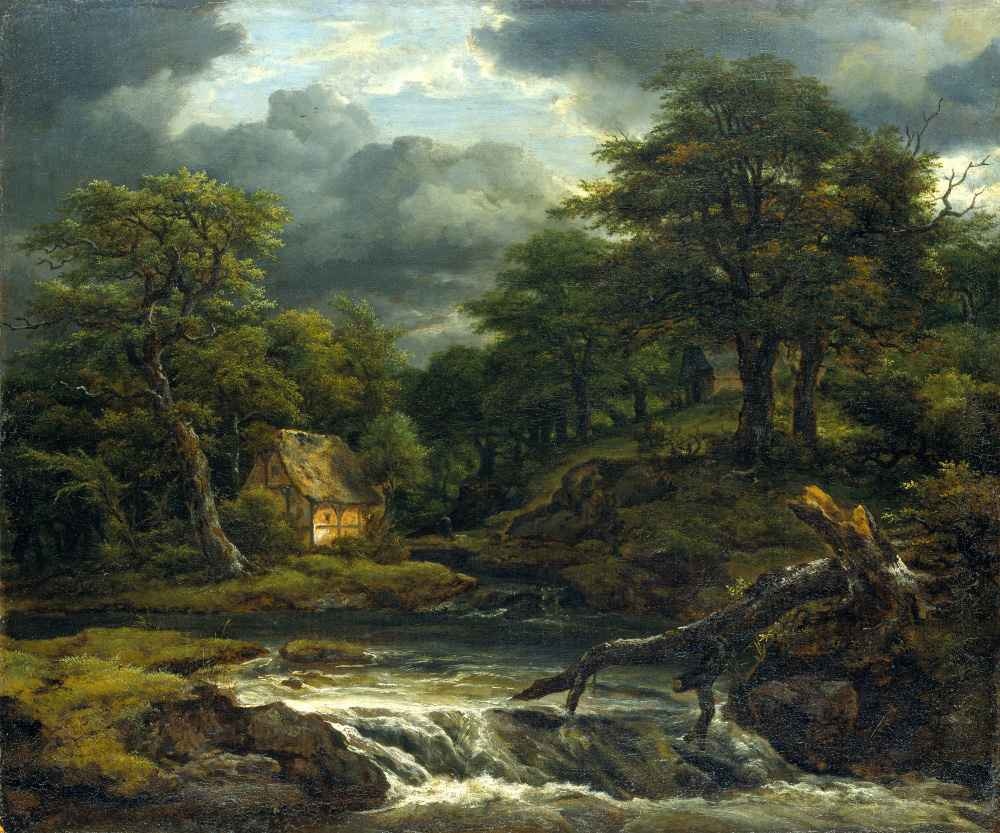 Wooded Landscape with Waterfall and Approaching Storm - Jacob van Ruis