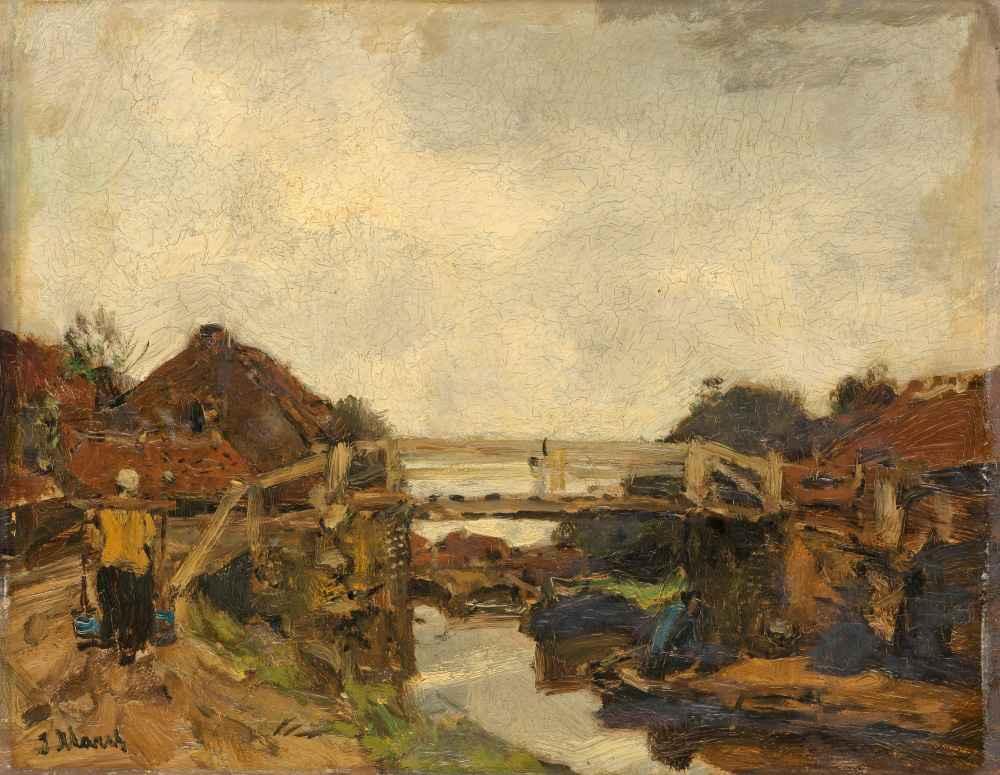 Wooden Bridge across a Canal at Rijswijk - Matthijs Maris