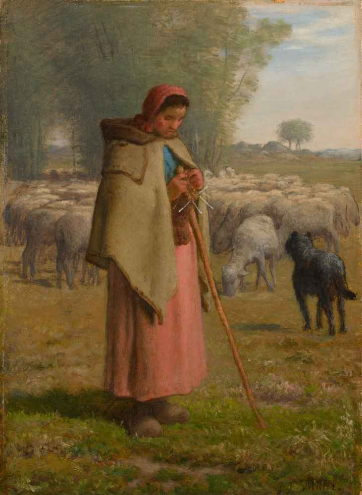 Young Girl Guarding her Sheep - Jean Francois Millet