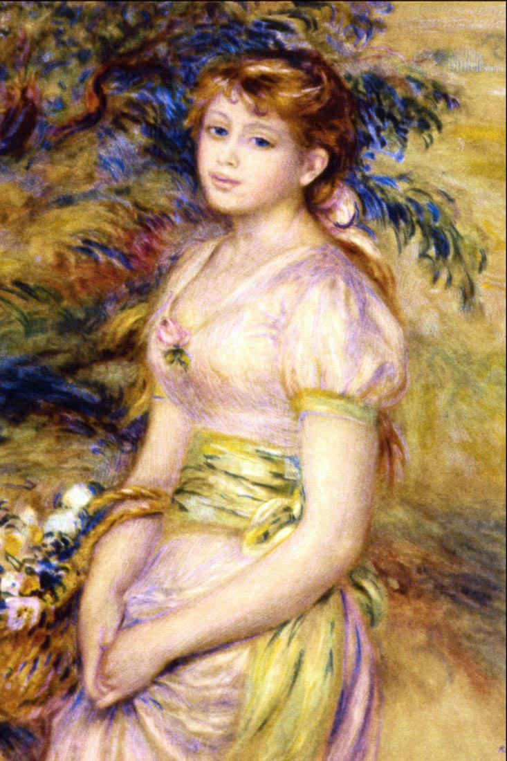 Young Girl with a Basket of Flowers - Renoir