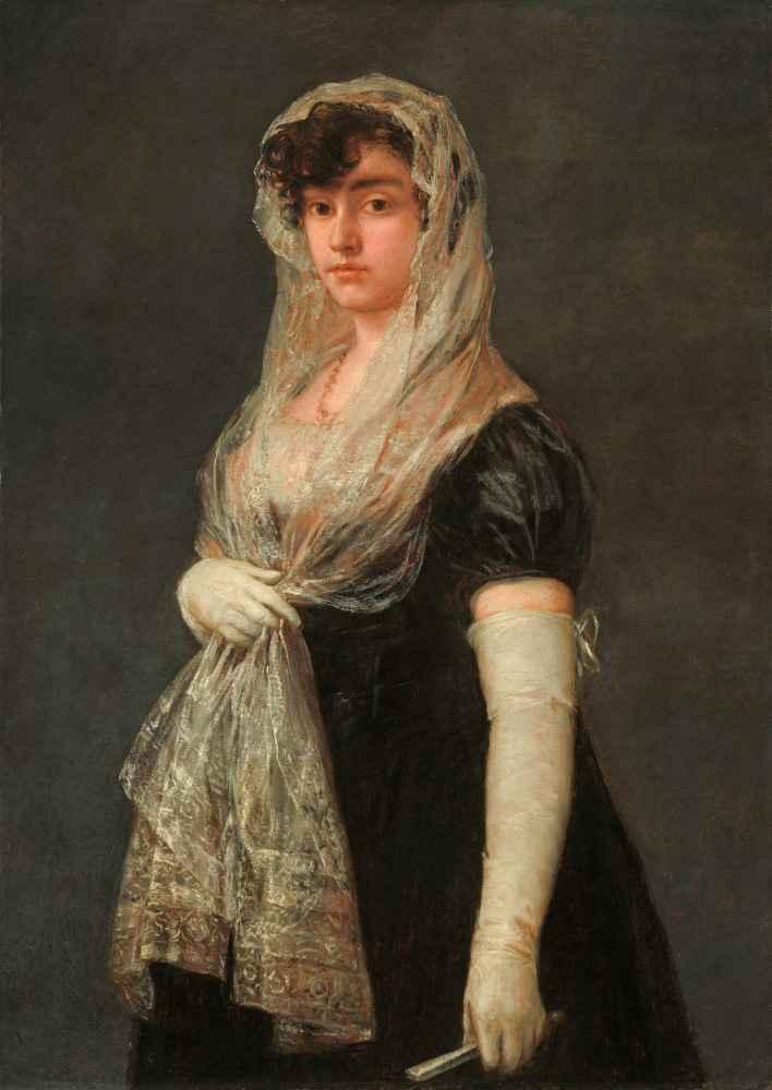 Young Lady Wearing a Mantilla and Basquina - Francisco Goya