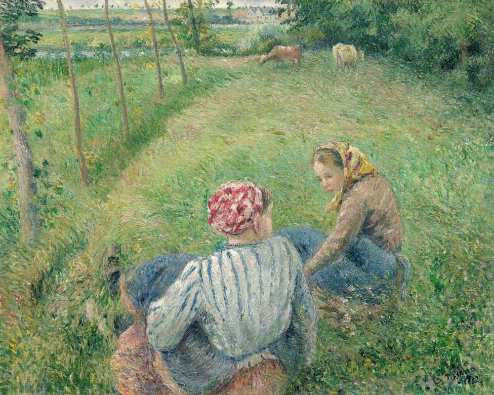 Young Peasant Girls Resting in the Fields near Pontoise - Camille Piss