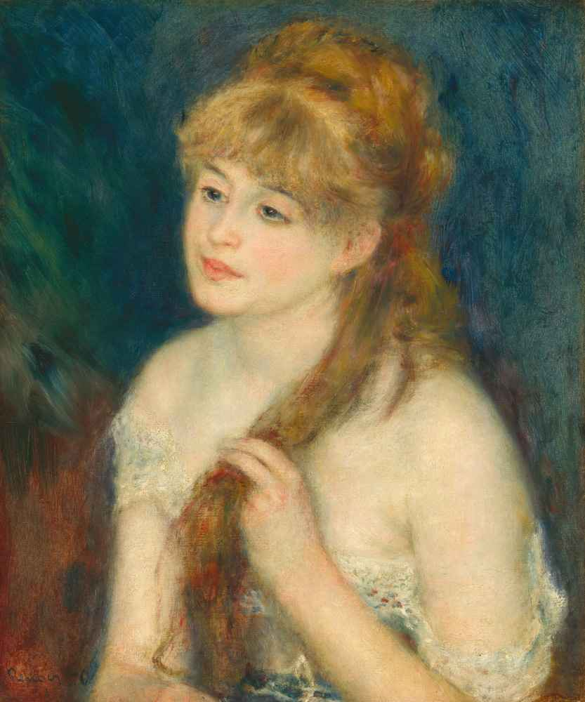 Young Woman Braiding Her Hair - Auguste Renoir