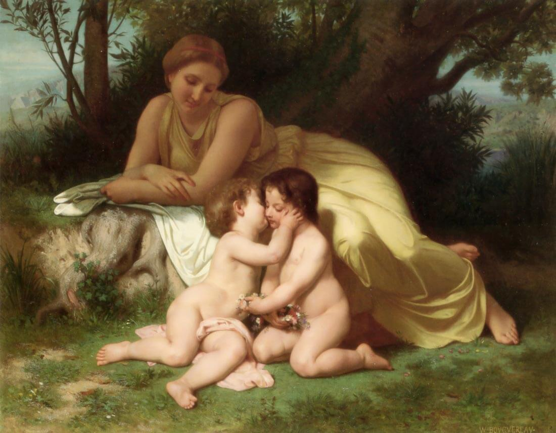 Young Woman Contemplating Two Embracing Children - Bouguereau