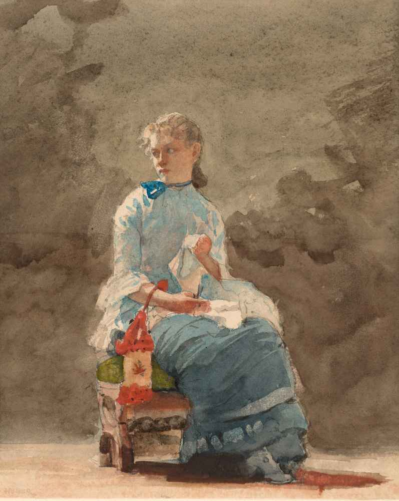 Young Woman Sewing - Winslow Homer