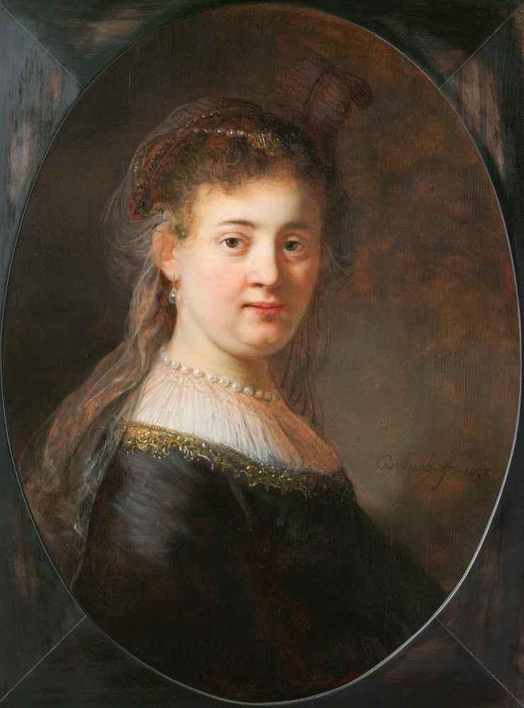 Young Woman in Fantasy Costume - Rembrandt Harmenszoon van Rijn