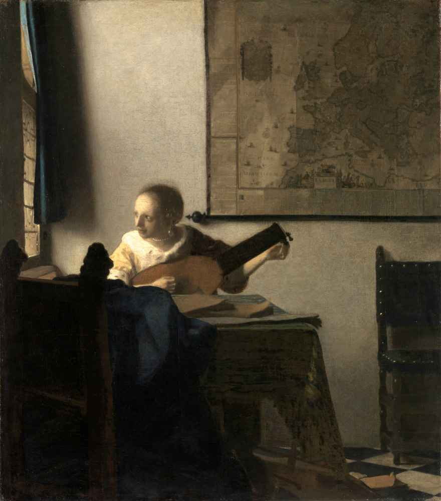 Young Woman with a Lute - Jan Vermeer