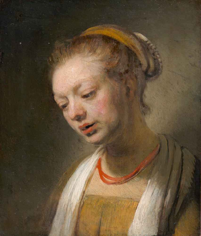 Young Woman with a Red Necklace - Rembrandt Harmenszoon van Rijn