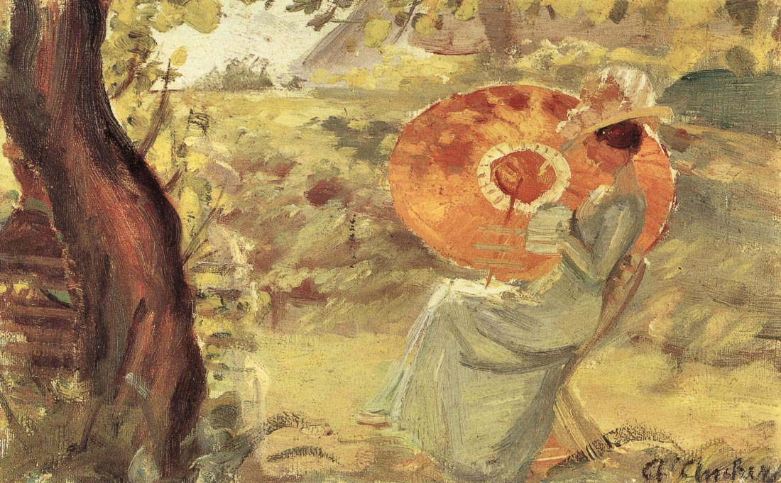 Young girl in garden with orange umbrella - Anna Ancher
