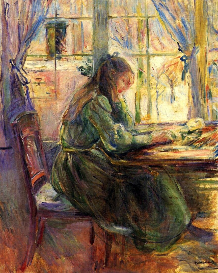 Young girl writing - Morisot