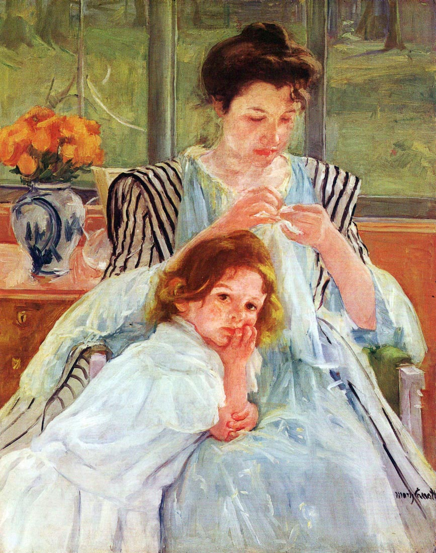 Young mother sewing - Cassatt
