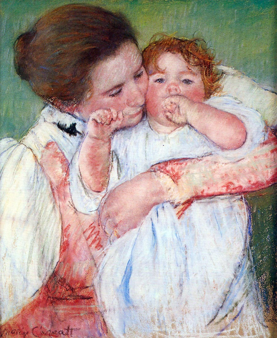 Young mothers embrace - Cassatt