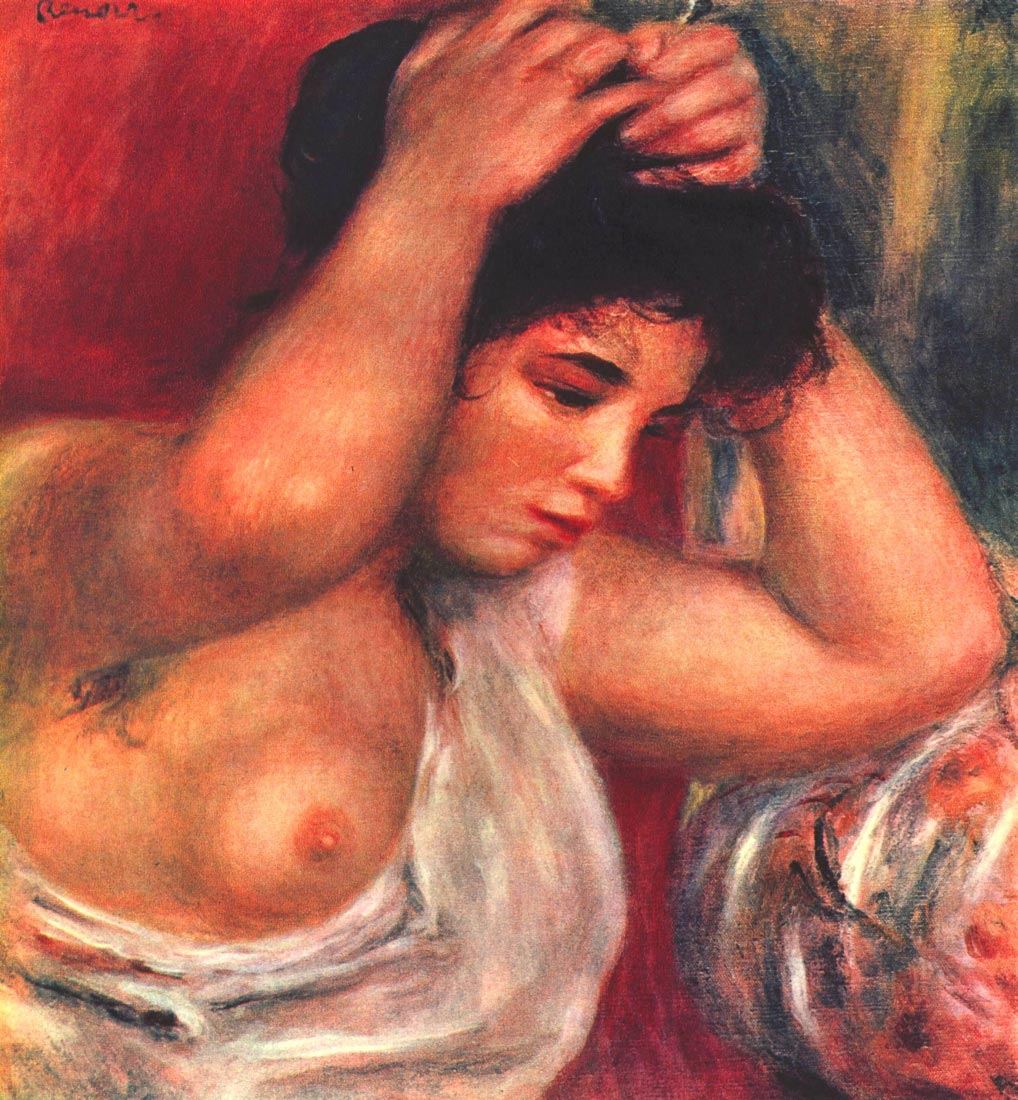 Young woman hairdressing - Renoir
