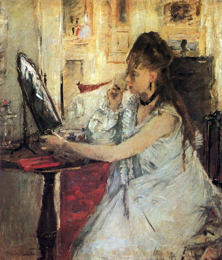 Young woman powdering her face - Morisot