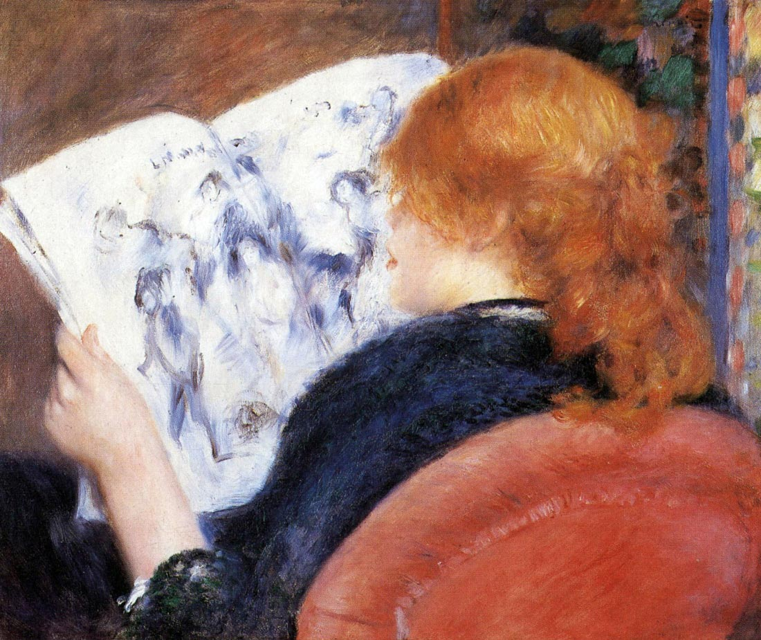 Young woman reads illustrated journal - Renoir