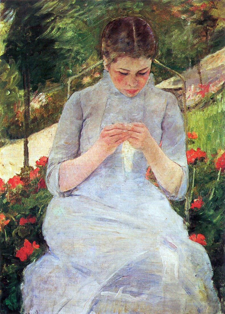 Young woman sewing in the garden - Cassatt