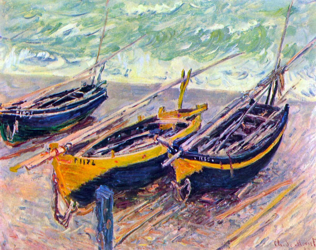 three fishing boats in Eretrat - Monet